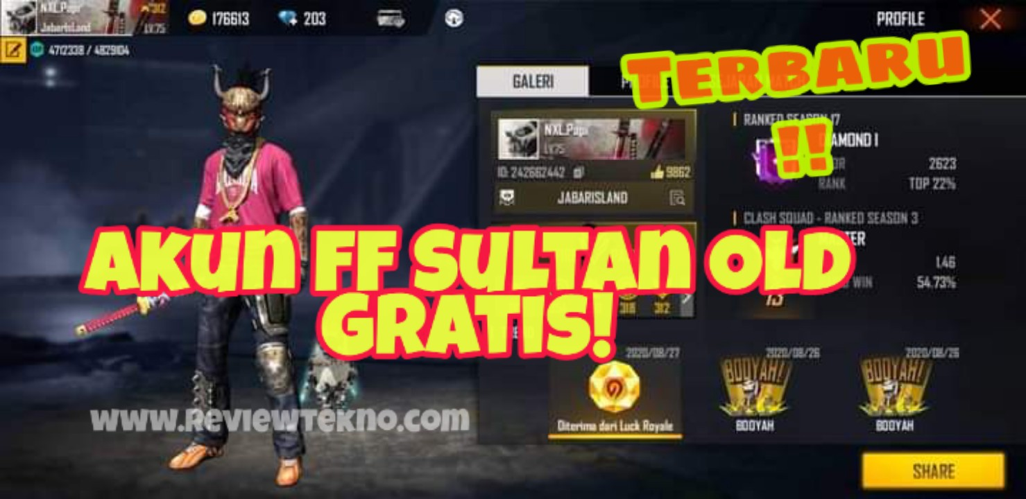 Akun FF Sultan Gratis season 1